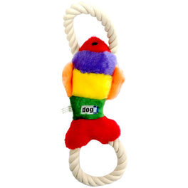 Dogit Luvz Plush Squeaky Rainbow Fish with Rope Dog Toy