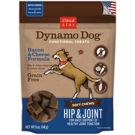35% OFF: Cloud Star Dynamo Dog Bacon & Cheese Hip and Joint Soft Chews Dog Treats 5oz (Exp 6 Apr 19)