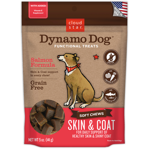 Cloud Star Dynamo Dog Salmon Formula Skin & Coat Soft Chews Dog Treats 5oz