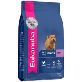 'FREE TREATS': Eukanuba Senior Small Breed Chicken Dry Dog Food 3kg
