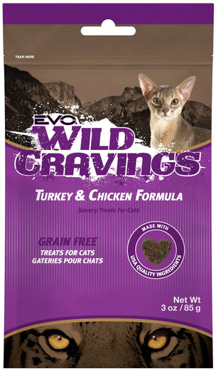 EVO Wild Cravings Grain-Free Turkey & Chicken Formula Cat Treats 3oz