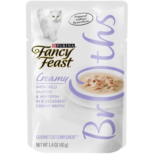 10% OFF: Fancy Feast Creamy Broths Wild Salmon & Whitefish Pouch Cat Food 40g - Kohepets
