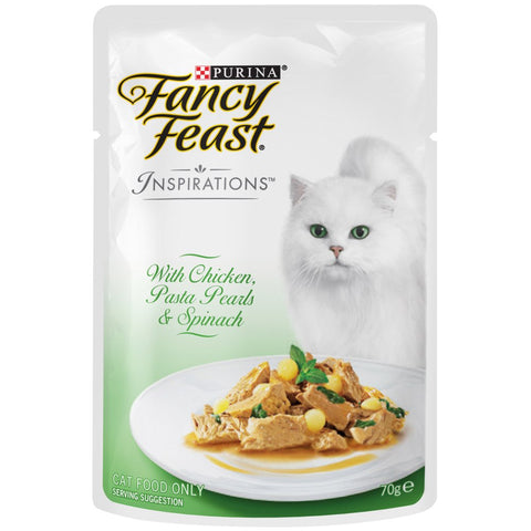 10% OFF: Fancy Feast Inspirations Chicken, Pasta Pearls & Spinach Pouch Cat Food 70g