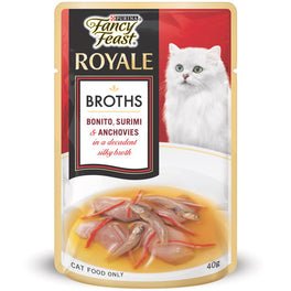 Fancy Feast Royale Broths Bonito, Surimi & Anchovies Pouch Cat Food 40g