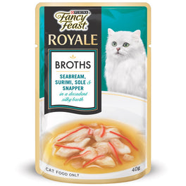 Fancy Feast Royale Broths Seabream, Surimi, Sole & Snapper Pouch Cat Food 40g
