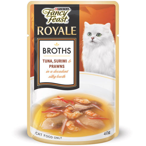 Fancy Feast Royale Broths Tuna, Surimi & Prawns Pouch Cat Food 40g - Kohepets