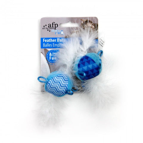 All For Paws Modern Cat Feather Balls with Sound 2pk Cat Toy - Kohepets
