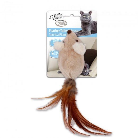 All For Paws Comfort Feather Tailed Mouse Cat Toy - Kohepets