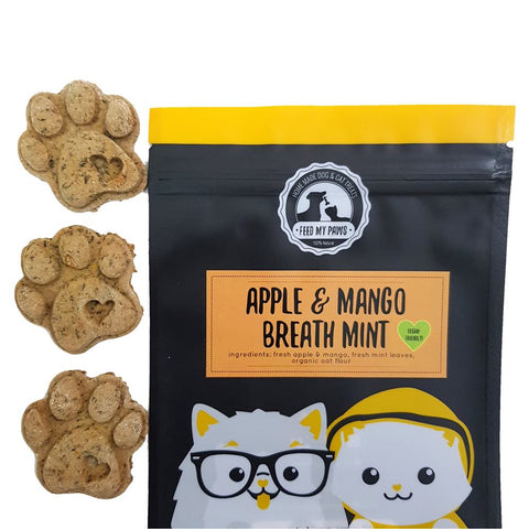 Feed My Paws Apple & Mango Breath Mint Cookies Cat & Dog Treats 100g