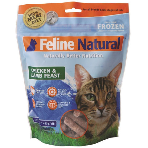 Feline Natural Raw Frozen Lamb & Chicken Cat Food 453g - Kohepets