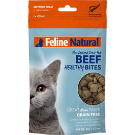10% OFF: Feline Natural Healthy Bites Beef Freeze-Dried Cat Treats 50g