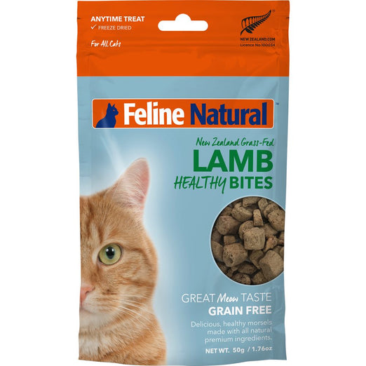 3 FOR $33.60: Feline Natural Healthy Bites Lamb Freeze-Dried Cat Treats 50g