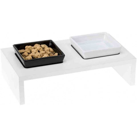 Ferplast Maki 03 Ceramic Bowls With Wooden Stand - Kohepets