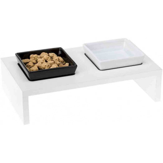 Ferplast Maki 01 Ceramic Bowls With Wooden Stand - Kohepets