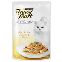 10% OFF: Fancy Feast Inspirations Chicken, Courgette & Tomato Pouch Cat Food 70g
