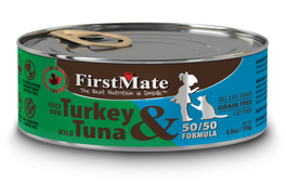 FirstMate Grain Free 50/50 Free Run Turkey & Wild Tuna Formula Canned Cat Food 156g