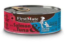 25% OFF: FirstMate Grain Free 50/50 Wild Salmon & Wild Tuna Formula Canned Cat Food 156g (Exp Aug 19)