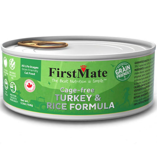 FirstMate Cage-free Turkey & Rice Formula Grain Friendly Canned Cat Food 156g