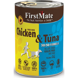 FirstMate Grain Free 50/50 Free Run Chicken & Wild Tuna Formula Canned Dog Food 12.5oz