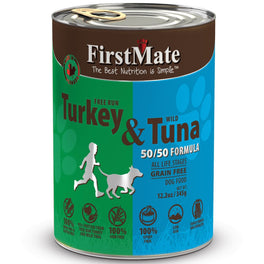 'BUY 3 GET 1 FREE': Firstmate Grain Free 50/50 Free Run Turkey & Wild Tuna Formula Canned Dog Food 12.5oz