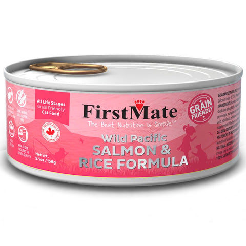 FirstMate Wild Pacific Salmon & Rice Formula Grain Friendly Canned Cat Food 156g - Kohepets
