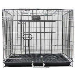 B2K Foldable Dog Cage With Pan Base Chrome
