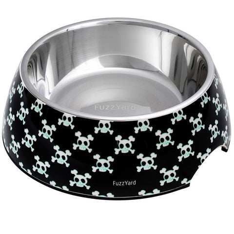 FuzzYard Easy Feeder Dog Bowl - Bad To The Bone (Black) (discontinued) - Kohepets