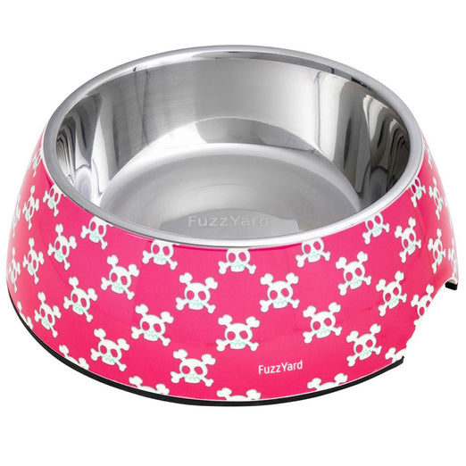FuzzYard Easy Feeder Pet Bowl - Bad To The Bone (Pink) (discontinued) - Kohepets