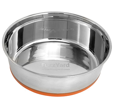 FuzzYard Stainless Steel Bowl with Non-Slip Base in Orange - Kohepets