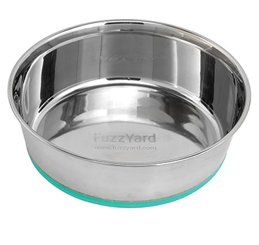 10% OFF: FuzzYard Stainless Steel Bowl with Non-Slip Base in Turquoise - Kohepets