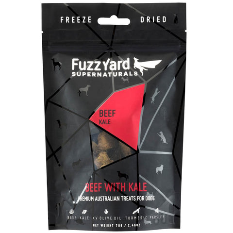 FuzzYard Supernaturals Beef With Kale Freeze Dried Dog Treats 70g
