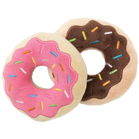 FuzzYard 2-in-1-Pack Donut Plush Dog Toys