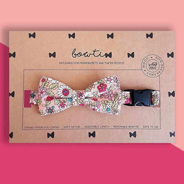 Bowtix Handmade Cat Collar With Removable Bowtie - Gardenful of Pink