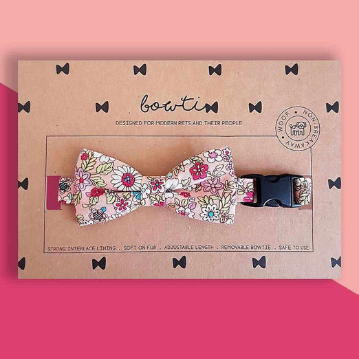 Bowtix Handmade Dog Collar With Removable Bowtie - Gardenful of Pink