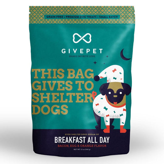 3 FOR $39.90: Givepet Breakfast All Day Bacon Dog Treats 340g - Kohepets