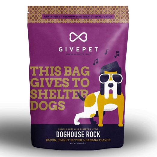 4 FOR $49: Givepet Doghouse Rock Bacon Dog Treats 340g