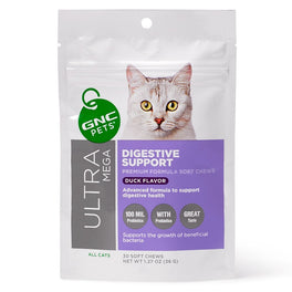 GNC Pets Ultra Mega Digestive Support Duck-Flavour Soft Chews Cat Supplement 30ct