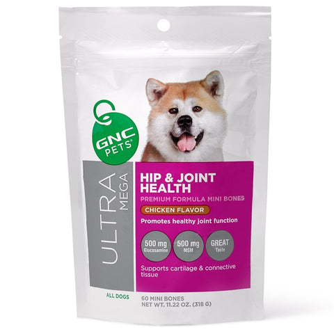 GNC Pets Ultra Mega Hip & Joint Chicken-Flavour Soft Chews Dog Supplement 60ct