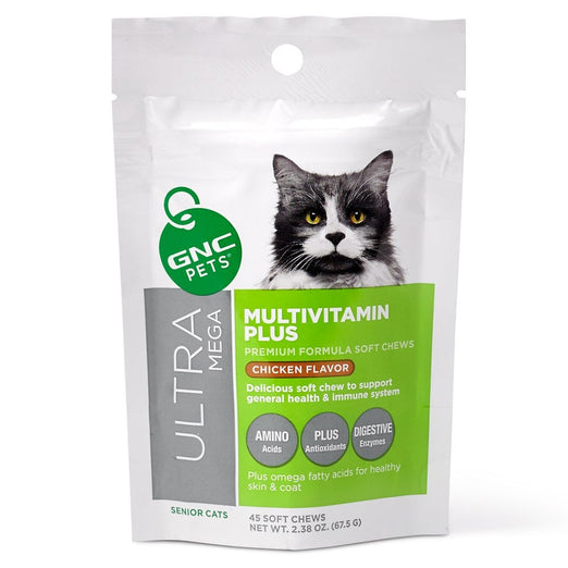 GNC Pets Ultra Mega Multivitamin Plus Chicken-Flavor Soft Chews Senior Cat Supplement 45ct