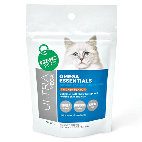 GNC Pets Ultra Mega Omega Essentials Chicken-Flavour Soft Chews Cat Supplement 46ct
