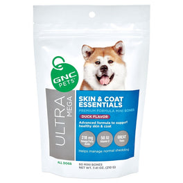 GNC Pets Ultra Mega Skin & Coat Essentials Duck-Flavour Soft Chews Dog Supplement 60ct