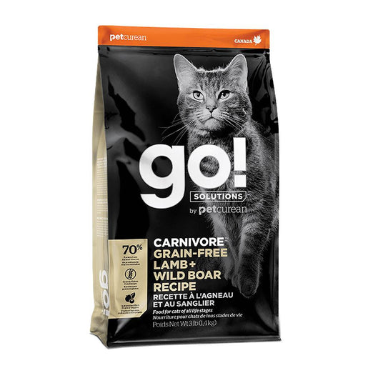 Petcurean GO! Carnivore Grain Free Lamb + Wild Boar Recipe Dry Cat Food 3lb - Kohepets