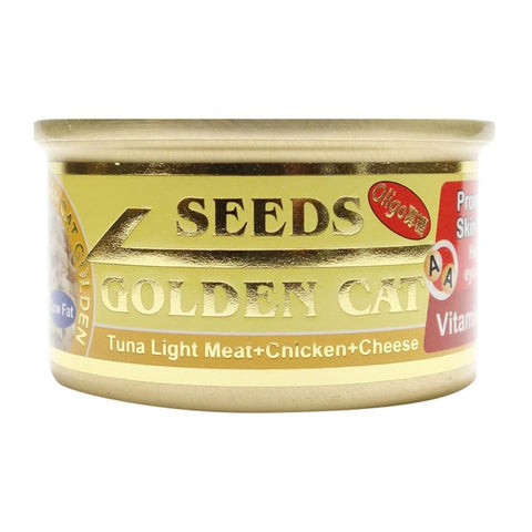 10% OFF (Exp 15 Dec): Seeds Golden Cat Tuna Light Meat, Chicken & Cheese Canned Cat Food 80g