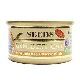 Seeds Golden Cat Tuna Light Meat, Chicken & Crab Canned Cat Food 80g