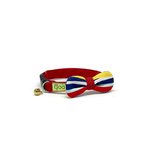 Goood Pet Collars Rounded Bow Handmade Cat Collar - Charming Stripes