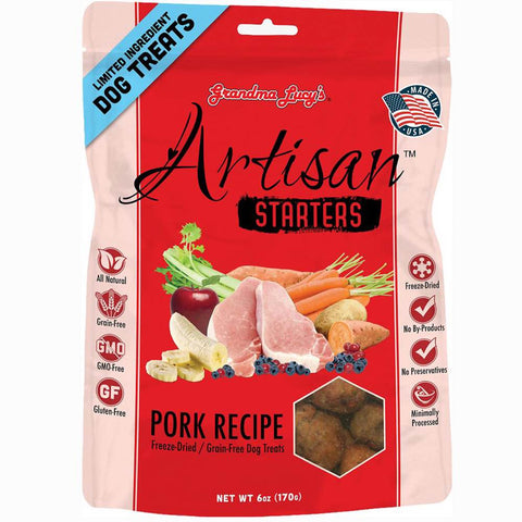 Grandma Lucy's Artisan Starters Pork Freeze-Dried Grain-Free Dog Treats 6oz