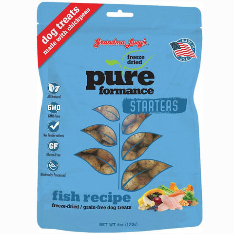 Grandma Lucy's Pureformance Starters Fish Freeze-Dried Grain-Free Dog Treats 6oz - Kohepets