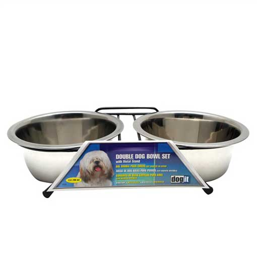 Dogit Stainless Steel Double Dinner Bowl Set For Dogs