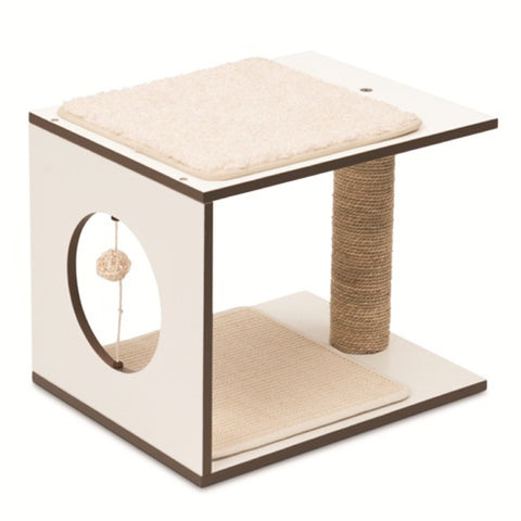 Vesper V-Stool In White Cat Post