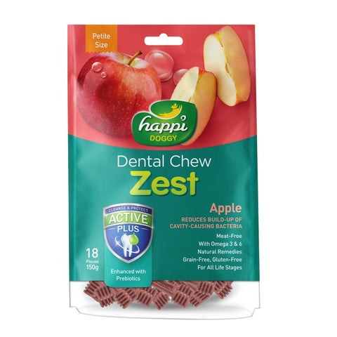 BUY 2 GET 1 FREE: Happi Doggy Zest Apple Dental Dog Chew 150g